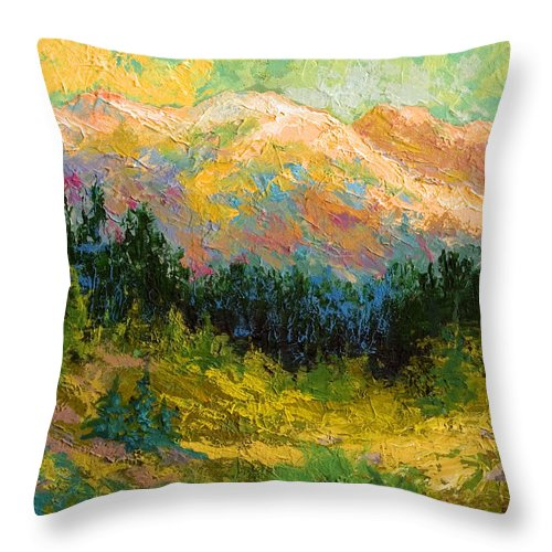 Alaska Throw Pillow featuring the painting Summer High Country by Marion Rose