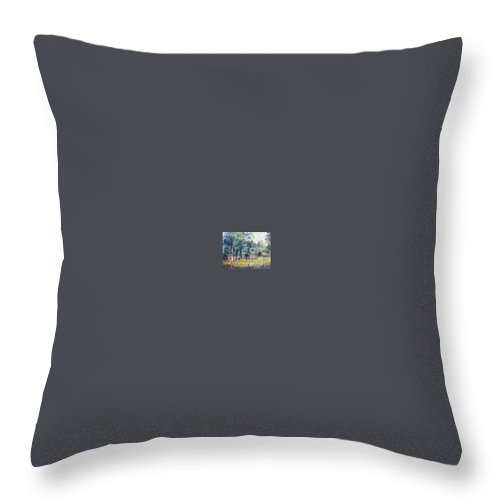 Landscape Throw Pillow featuring the painting Summer Idyll by Jan Bennicoff