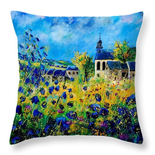 Poppies Throw Pillow featuring the painting Summer In Foy Notre Dame by Pol Ledent