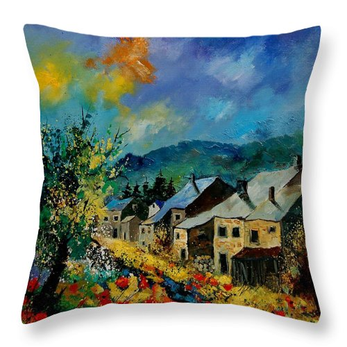 Poppies Throw Pillow featuring the painting Summer In Mogimont by Pol Ledent