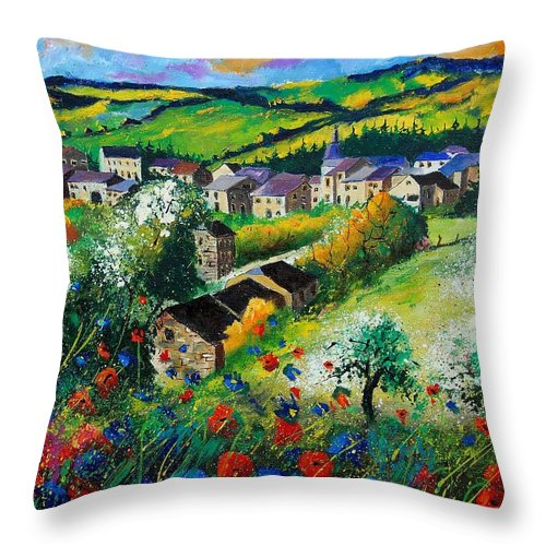 Poppies Throw Pillow featuring the painting Summer In Rochehaut by Pol Ledent