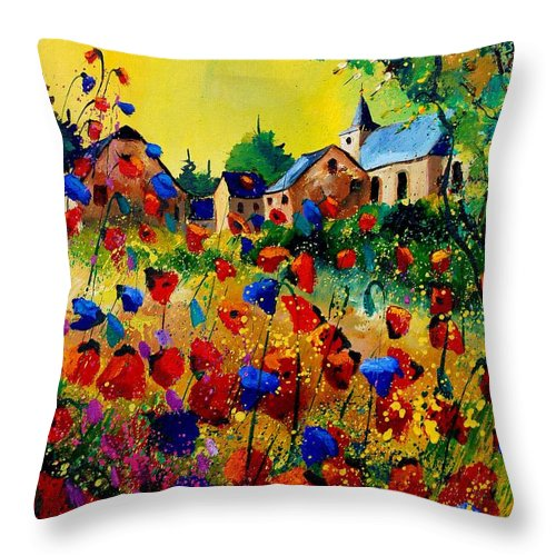 Poppy Throw Pillow featuring the painting Summer In Sosoye by Pol Ledent