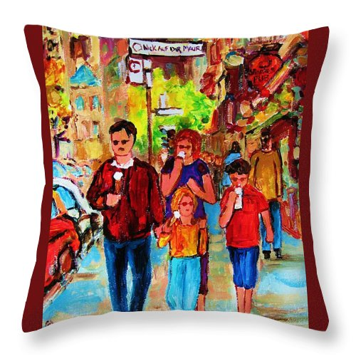Montreal Streetscenes Throw Pillow featuring the painting Summer In The City by Carole Spandau