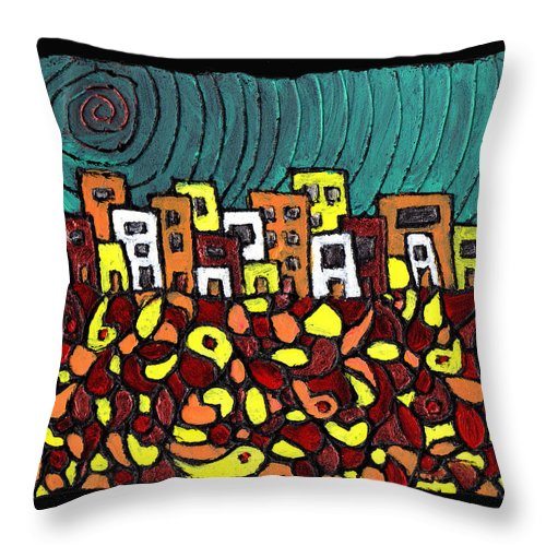 City Throw Pillow featuring the painting Summer In The City by Wayne Potrafka