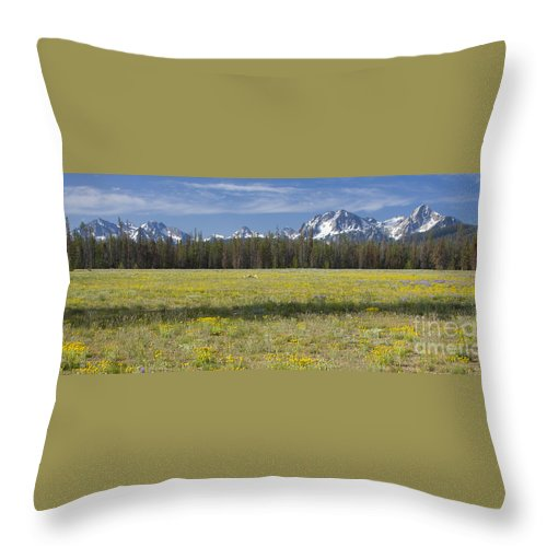 Mountains Throw Pillow featuring the photograph Summer In The Sawtooths by Idaho Scenic Images Linda Lantzy
