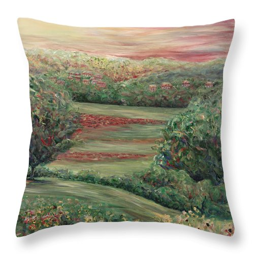 Landscape Throw Pillow featuring the painting Summer In Tuscany by Nadine Rippelmeyer