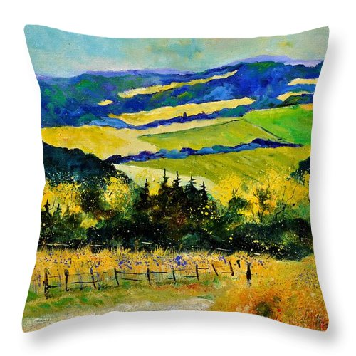 Landscape Throw Pillow featuring the painting Summer Landscape by Pol Ledent