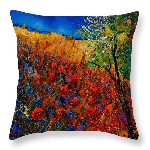 Flowers Throw Pillow featuring the painting Summer Landscape With Poppies by Pol Ledent