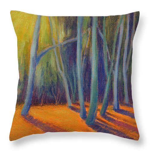 Trees Throw Pillow featuring the painting Summer Light by Konnie Kim