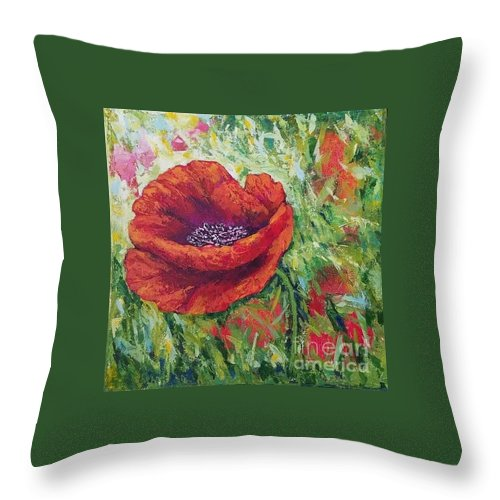 Flowers Images Throw Pillow featuring the painting Summer Mood by Olga Malamud-Pavlovich