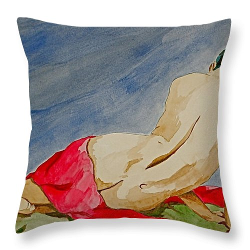 Nudes Red Cloth Throw Pillow featuring the painting Summer Morning 2 by Herschel Fall