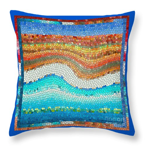 Colorful Throw Pillow featuring the digital art Summer Mosaic by Melissa A Benson