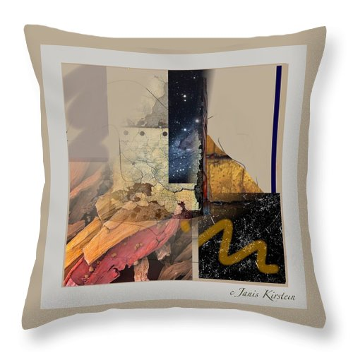 Mixed Media Throw Pillow featuring the mixed media Summer Night 1 by Janis Kirstein