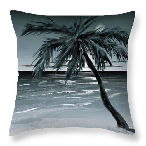 Water Beach Sea Ocean Palm Tree Summer Breeze Moonlight Sky Night Throw Pillow featuring the digital art Summer Night In Florida by Veronica Jackson