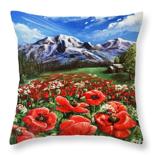 Mountain Throw Pillow featuring the painting Summer On The Mountain by Mona Davis