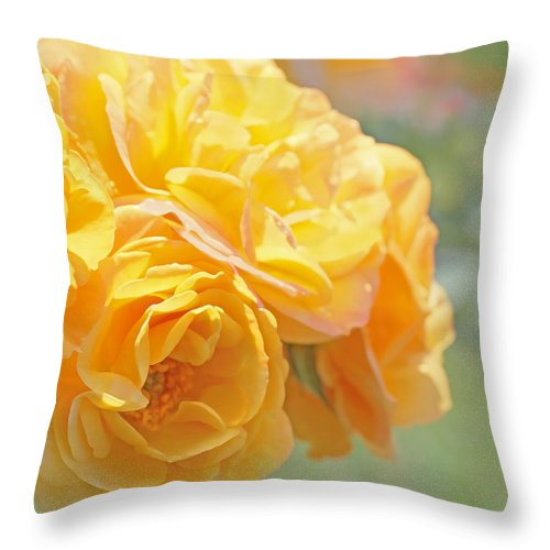 Rose Throw Pillow featuring the photograph Golden Yellow Roses In The Garden by Jennie Marie Schell