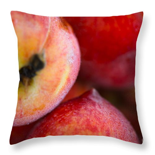 Peach Throw Pillow featuring the photograph Summer Peaches by Nadine Rippelmeyer