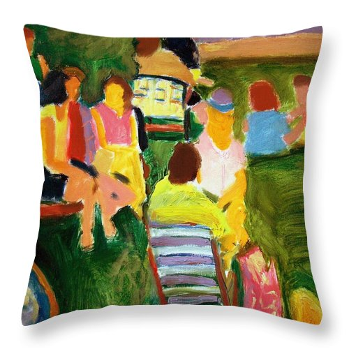 Dornberg Throw Pillow featuring the painting Summer Picnic by Bob Dornberg