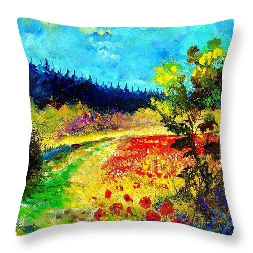 Flowers Throw Pillow featuring the painting Summer by Pol Ledent