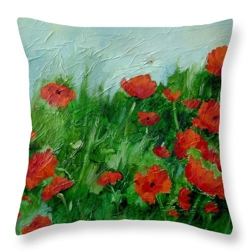 Red Poppies Throw Pillow featuring the painting Summer Poppies by Ginger Concepcion