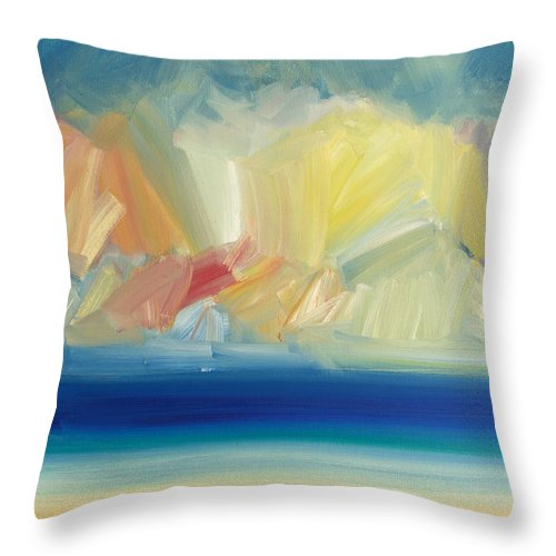 Beach Throw Pillow featuring the painting Summer, Ross Sands by Timothy Gent