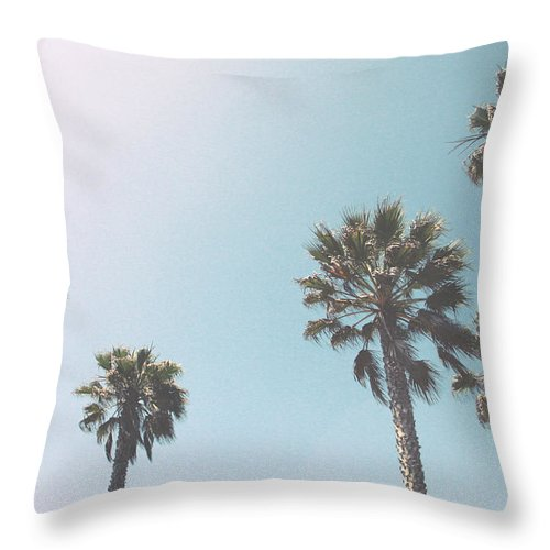 Palm Trees Throw Pillow featuring the photograph Summer Sky- by Linda Woods by Linda Woods