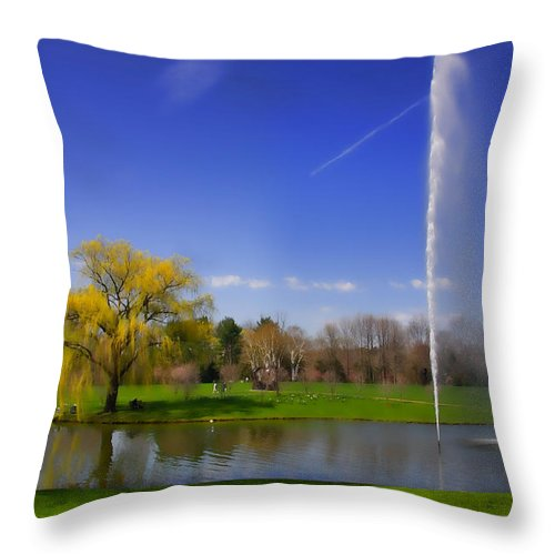 Gardens Throw Pillow featuring the photograph Summer Spout by June Marie Sobrito
