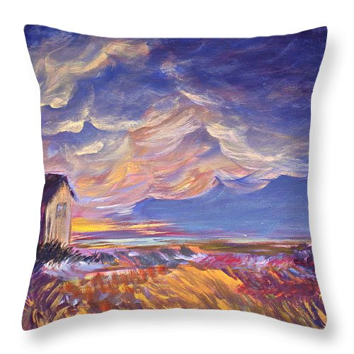 Summer Prairie Storm Throw Pillow featuring the painting Summer Storm by Joanne Smoley