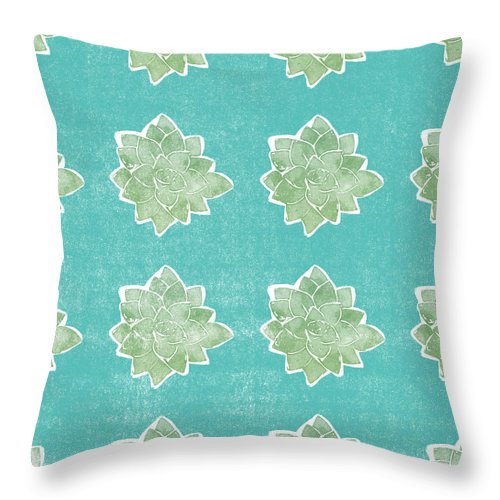 Succulents Throw Pillow featuring the mixed media Summer Succulents- Art By Linda Woods by Linda Woods