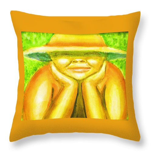 Throw Pillow featuring the painting Summer Sun by Jan Gilmore