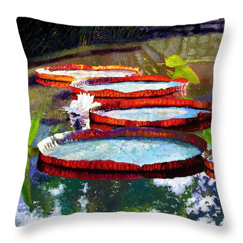 Water Lilies Throw Pillow featuring the painting Summer Sunlight On Lily Pads by John Lautermilch