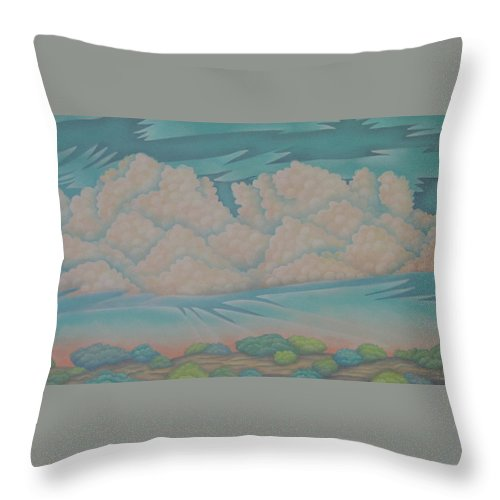 Landscape Throw Pillow featuring the painting Summer Sunrise by Jeniffer Stapher-Thomas
