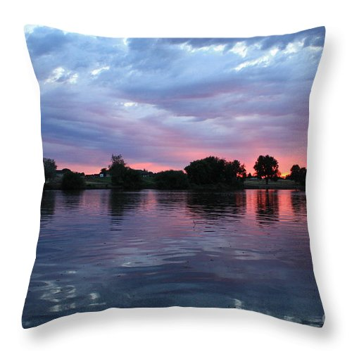 Sunset Throw Pillow featuring the photograph Summer Sunset On Yakima River 4 by Carol Groenen