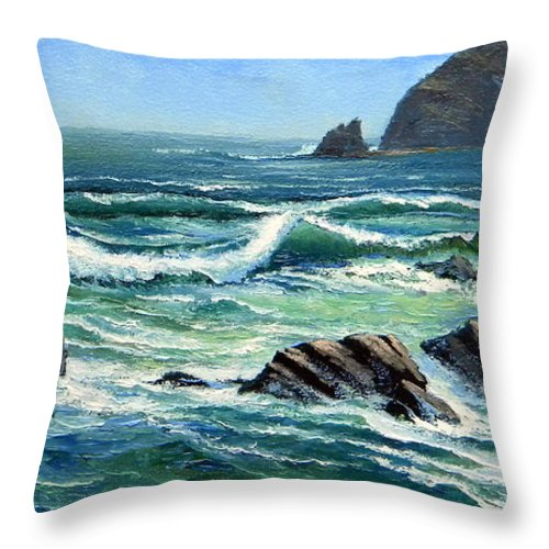 Seascape Throw Pillow featuring the painting Summer Surf by Frank Wilson