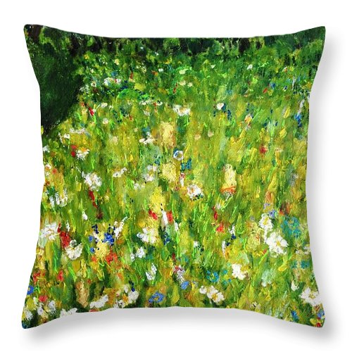 Landscape Throw Pillow featuring the painting The Glade by Evelina Popilian
