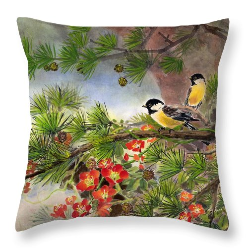 Chinese Trumpet Vine Throw Pillow featuring the painting Summer Vine With Pine Tree by Eileen Fong