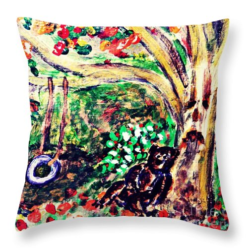 Gray Throw Pillow featuring the painting Summer Went By Too Quickly 2 by Sarah Loft