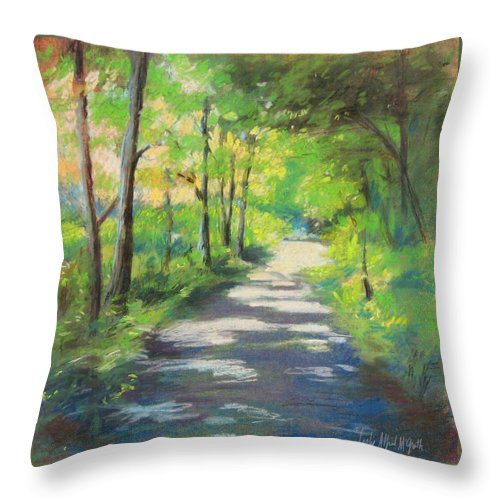 Alfred Throw Pillow featuring the painting summer woods at Kenoza Lake by Leslie Alfred McGrath