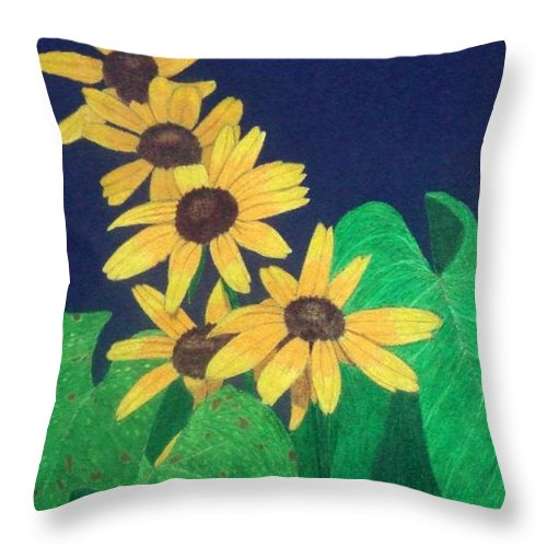 Black-eyed Susan Throw Pillow featuring the drawing Summers End by Anita Putman