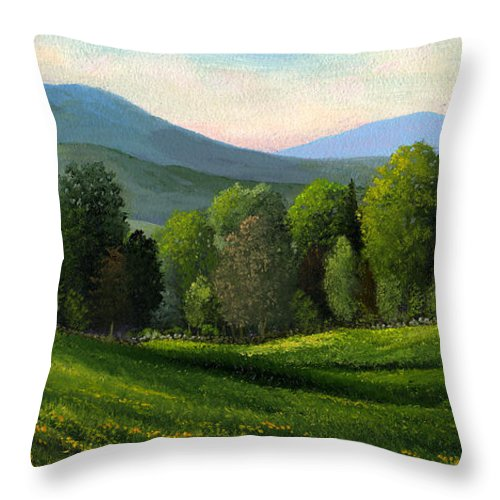 Landscape Throw Pillow featuring the painting Summers Ending by Frank Wilson