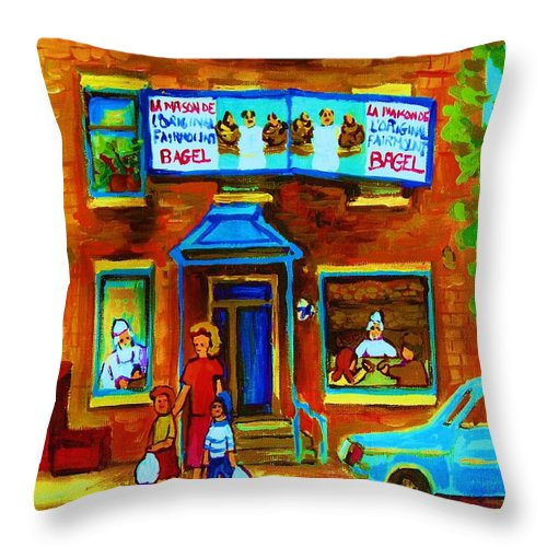 Mom And Tots Throw Pillow featuring the painting Summers With Mom At Fairmount by Carole Spandau