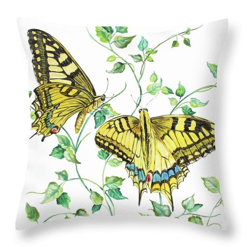 Butterfly Throw Pillow featuring the painting Summertime Butterflies A by Jean Plout