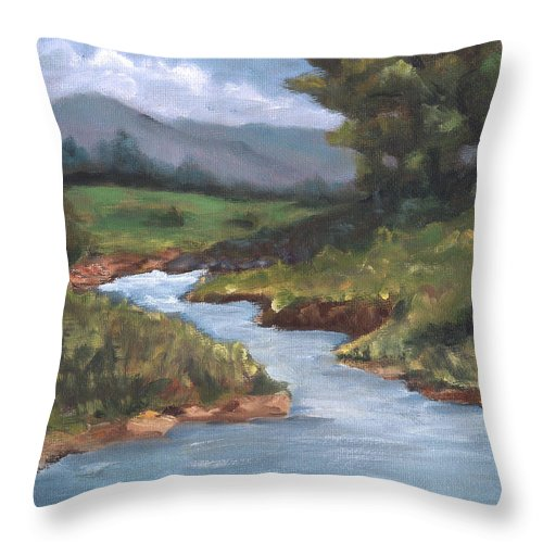 Country Throw Pillow featuring the painting Summertime by Linda Hiller