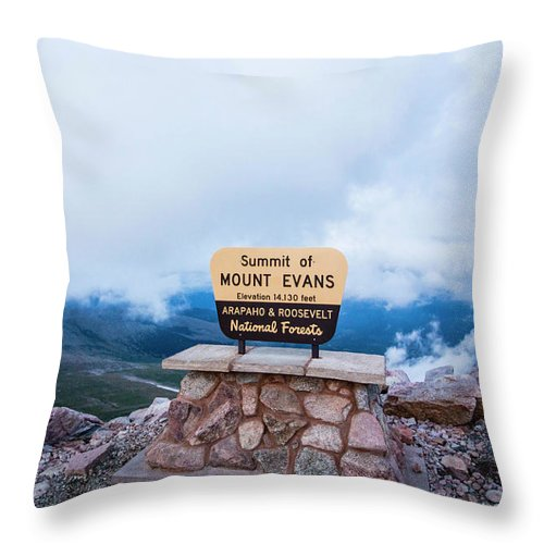 Colorado Throw Pillow featuring the photograph Summit Of Mount Evans by Angie Harris