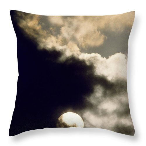 Storm Throw Pillow featuring the photograph Sun And Dark Clouds by Steve Somerville