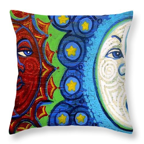 Sun Throw Pillow featuring the painting Sun And Moon by Genevieve Esson