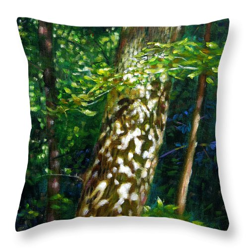 Tree Throw Pillow featuring the painting Sun And Shadow Patterns by John Lautermilch