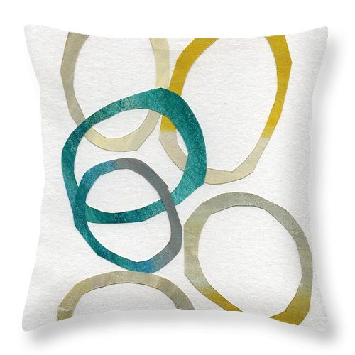 Abstract Art Throw Pillow featuring the mixed media Sun and Sky- abstract art by Linda Woods