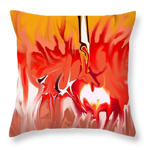 Abstract Throw Pillow featuring the digital art Sun Ball Two by Ian MacDonald