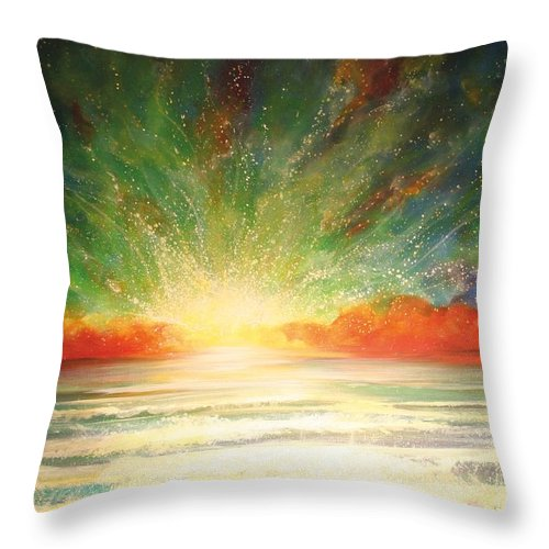 Sunset Throw Pillow featuring the painting Sun Bliss by Naomi Walker